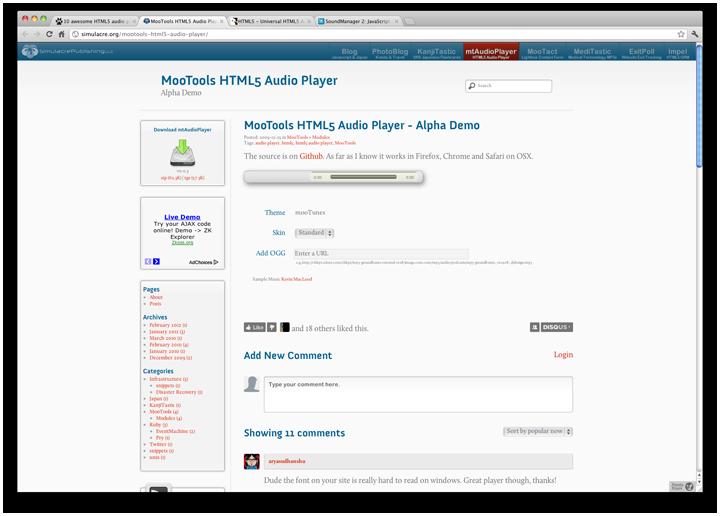 MooTools HTML5 аудиоплеер