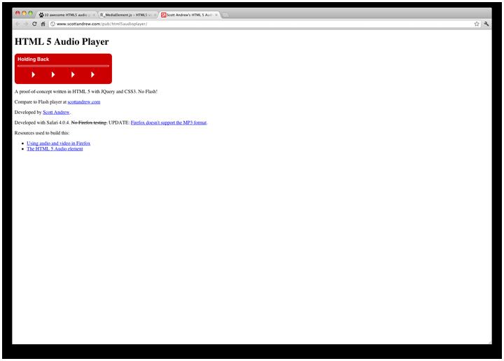 Аудиоплеер HTML5 от Эндрю Скотта