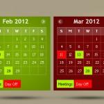 45 бесплатных календарей в PSD