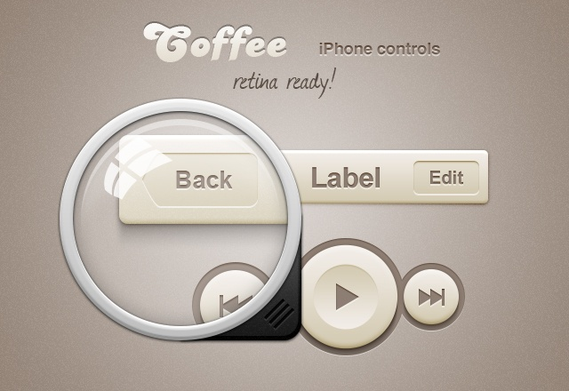 Coffee iPhone Retina App Controls 2