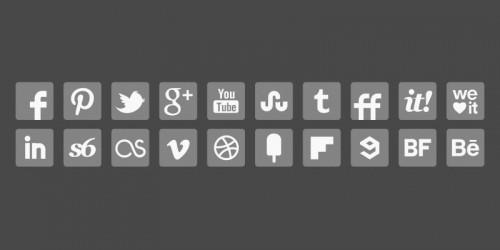 Иконки социальных сетей в сером стиле