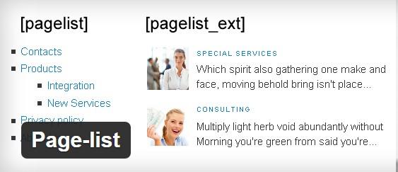 Плагин Page-list для WordPress
