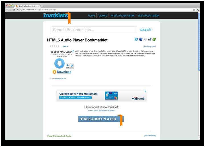 Букмарклет аудиоплеера на HTML5