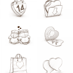 Набор иконок ко дню Святого Валентина (PNG/PSD)