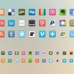 Набор из 41 иконки социальных сетей (PNG)