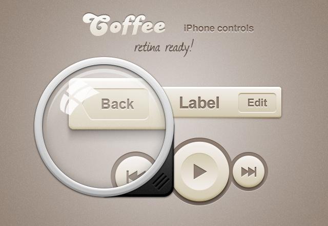 Coffee iPhone Retina App Controls 2
