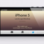 Шаблон iPhone 5 в горизонтальном положении (PSD)