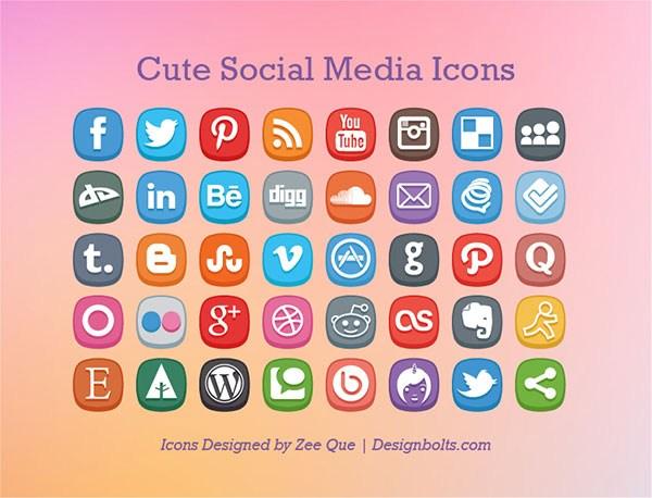 Иконки популярных социальных сетей