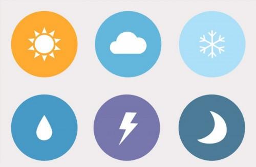 Иконки погоды в стиле flat-дизайна